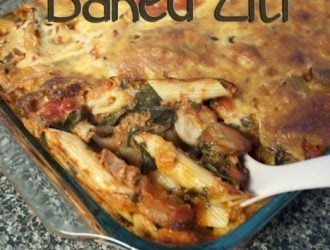 I love a good baked ziti but I wanted a way to have it without feeling so bad. The spinach is a sneaky way to get kids to eat a vegetable.