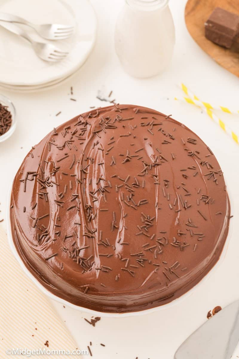 Grandma's Old Fashion Chocolate Frosting-21 on a chocolate cake