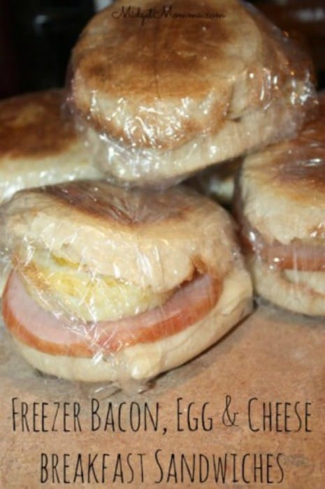Egg & Cheese Breakfast Sandwiches make these breakfast sandwiches ahead of time, freeze and reheat in the microwave for an easy breakfast.