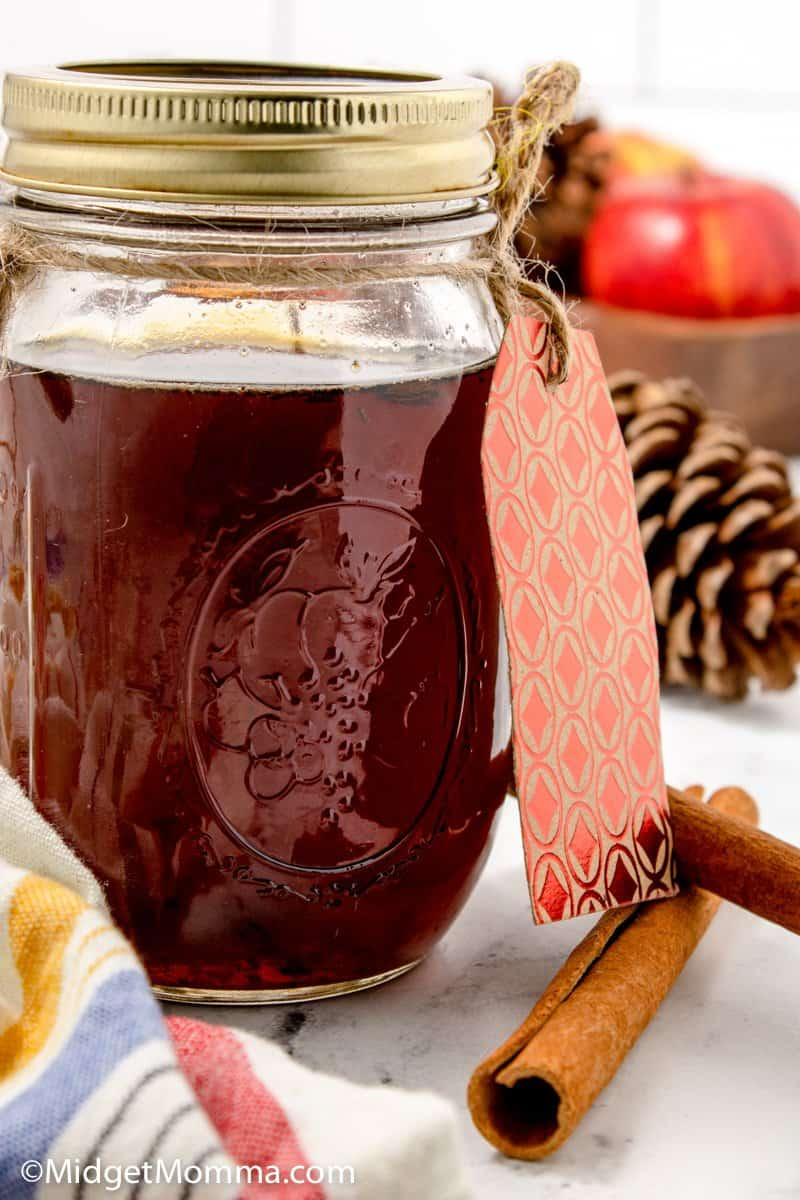Close up photo of Cinnamon Dolce Syrup Recipe in a mason jar
