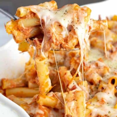 Easy Baked Ziti in a white baking dish