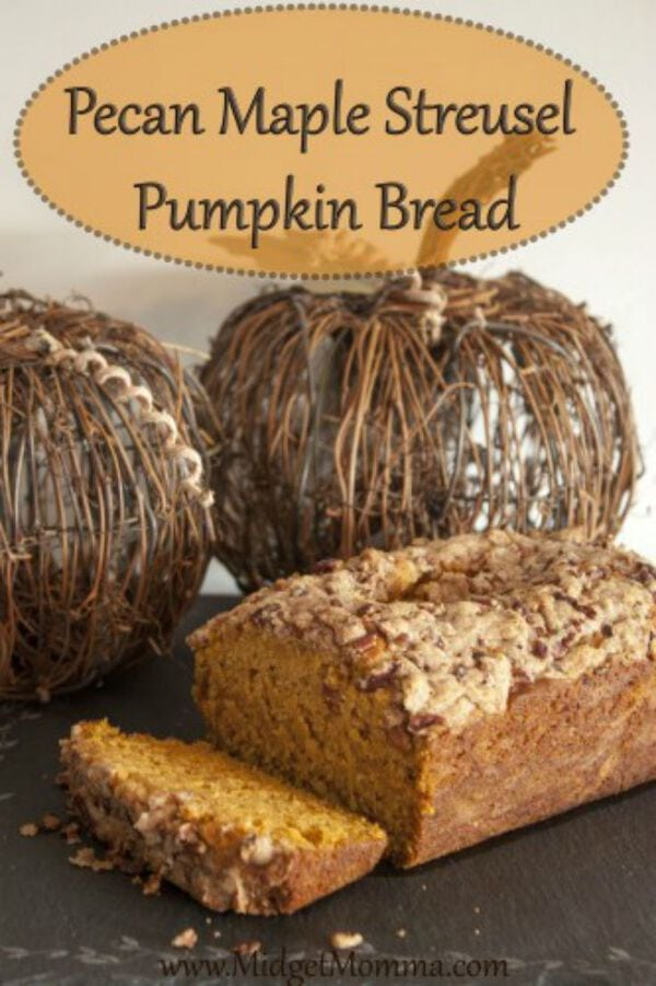 "This Pecan Maple Streusel Pumpkin Bread Is so amazing that you might never go back to the boring ""pumpkin bread"". Perfect pumpkin bread recipe for the fall!"