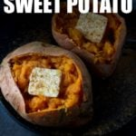 microwave baked sweet potato recipe cooked and served on a plate