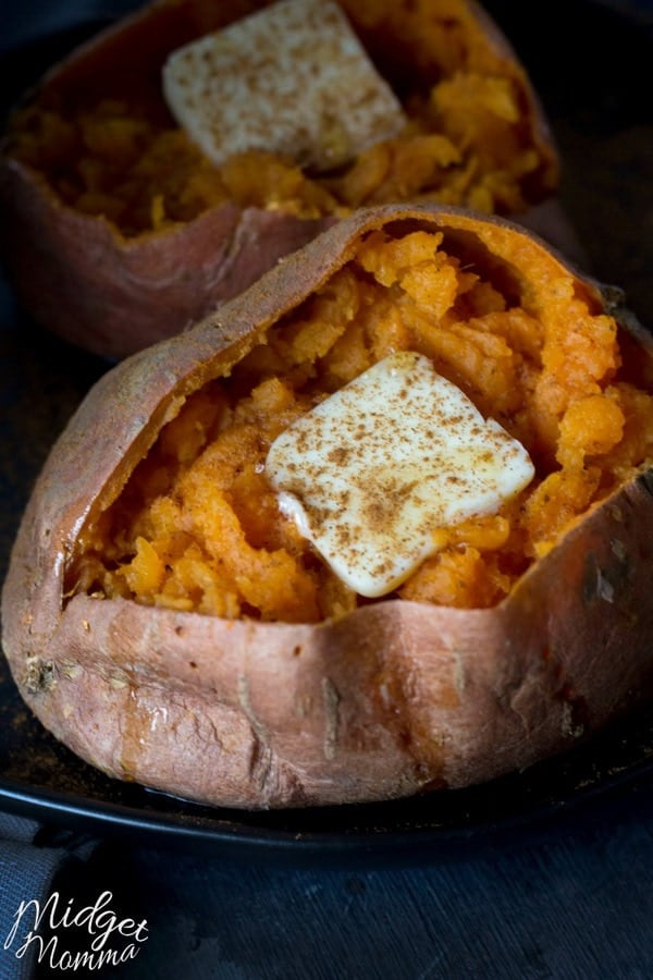 microwave sweet potato on a plate
