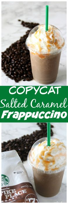 This Copycat frappuccino recipe is by far my favorite. It is a total Starbucks Copycat recipe and amazing. This Salted Caramel Frappuccino tastes just like the drink you get at Starbucks, but you can make this caramel frappuccino at home. You are going to love this Salted Caramel Frappuccino Starbucks Drink Copycat that you can make right at home! #Copycat #Copycatrecipe #caramel #caramelfrapuccino #SaltedCaramel #SaltedCaramelFrapuccino #Frappuccino #SaltedCaramelDrink