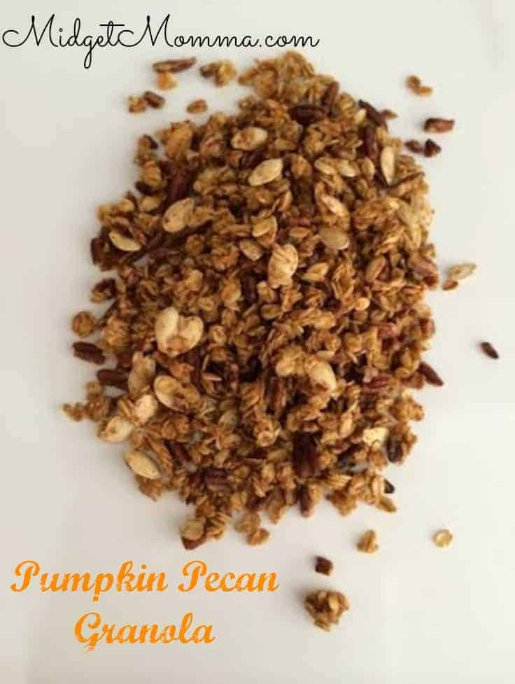 Pumpkin Pecan Granola is the perfect fall snack or you can put the Pumpkin Pecan Granola on some yogurt for breakfast or a snack.