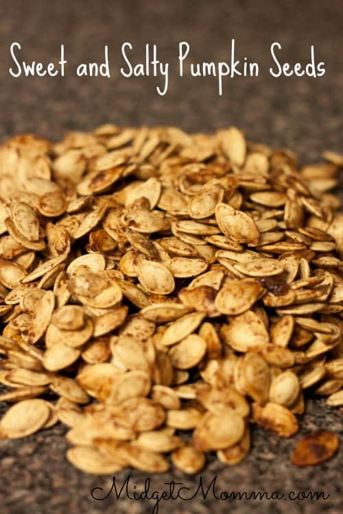 Sweet and Salty Pumpkin Seeds hit all different parts of your taste buds. The trick to boil the seeds before I roast them.