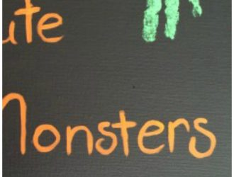 DIY Cute Monster Canvas with Monster Inc! (Using Kids Hand & Foot Prints)