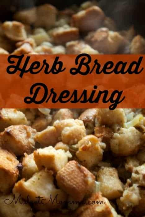 Delicious, savory amazing Herb Bread Dressing that is perfect for thanksgiving recipes for thanksgiving dinner. Everyone will be sure to love it.
