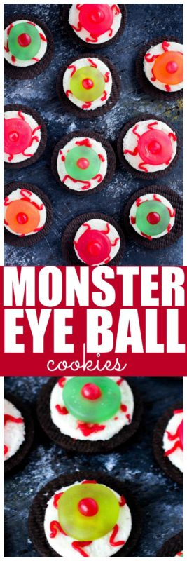 These Monster Eye Ball Halloween Cookies are sooo easy to make! In just a few minutes you can make these monster eye ball cookies. These cookies are made with oreos a few pieces of candy and that is it! Super simple Halloween Cookie! #Halloween #HalloweenTreat #HalloweenCookie
