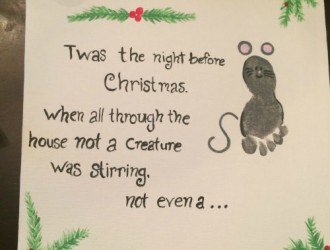 Twas The Night Before Christmas kids Foot Print Canvas