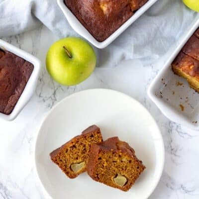 Slices of pumpkin apple bread. Homemade fresh pumpkin apple bread on a plate.