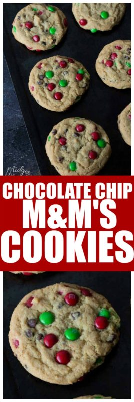These Chocolate Chip M&M's Christmas Cookies are the perfect soft cookie. Easy to make chocolate chip cookie recipe. Change up the colors of M&Ms to match any holiday you need. These are our favor Christmas Chocolate Chip Cookie! #M&Ms #Cookie #ChocolateChip #SoftCookie #ChewyCookie #M&MCookie #ChocolateChipCookie #ChristmasCookie