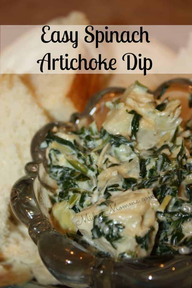 This Easy Spinach Artichoke Dip is easy to make and it tastes amazing! You can then get bread, crackers or veggies to dip in it.