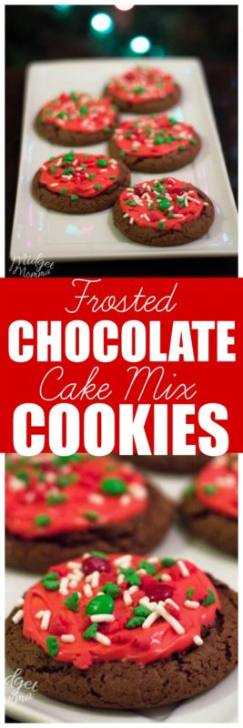 Chocolate Cake Mix cookies are the perfect soft baked chocolate cookie. Top with your favorite frosting, some sprinkles and M&Ms and you have awesome festive Chocolate Christmas cookies! #Cookies #CakeMixCookies #SoftChocolateCookies #EasyCookies #ChristmasCookies