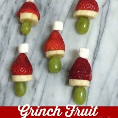 Grinch Fruit Kabobs are made to look like the Grinch wearing his Santa hat. For some reason when you put things on toothpicks kids love them.