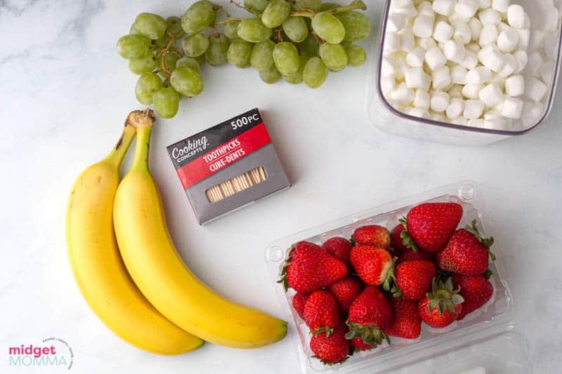 Grinch Fruit Kabobs ingredients - strawberries, green grapes, banana, mini marshmallows