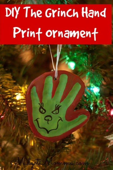 Homemade air dry clay grinch hand print ornament