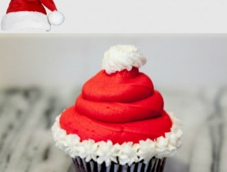 Santa Hat Cupcakes with Homemade Cupcakes and Frosting