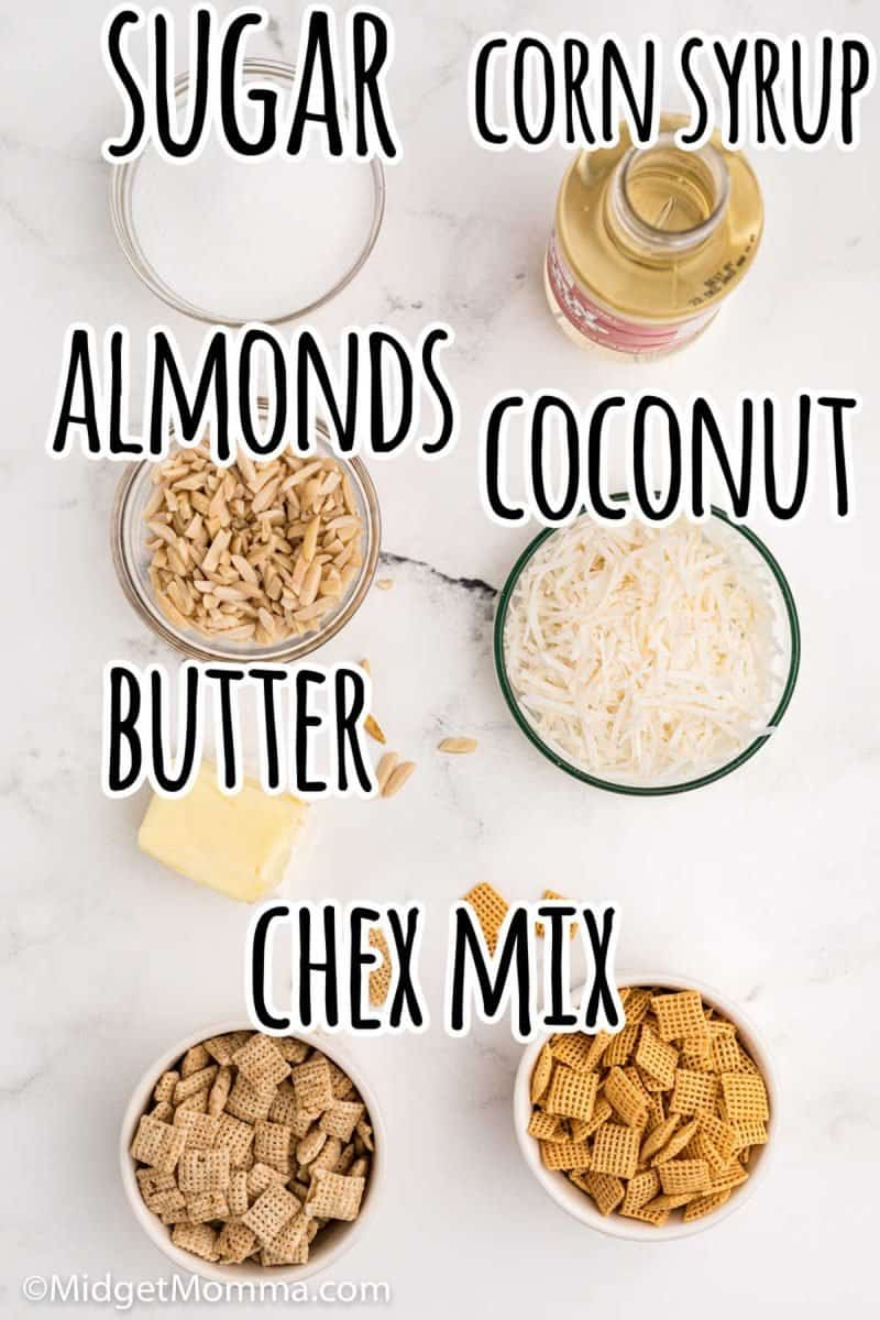 Sweet and Salty Holiday Chex Mix ingredients