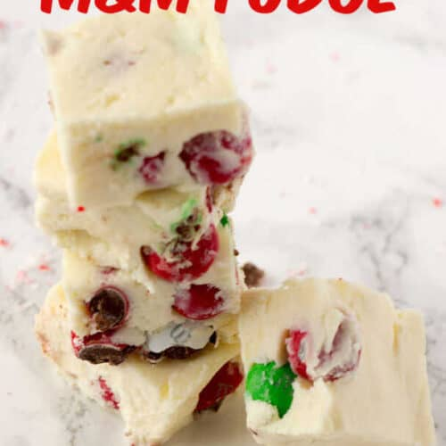 3 Ingredient White Chocolate Fudge With M Amp Ms Candies