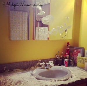 Easy Elf on the Shelf Ideas - Elf on the shelf sitting in the bathroom covered in shaving cream