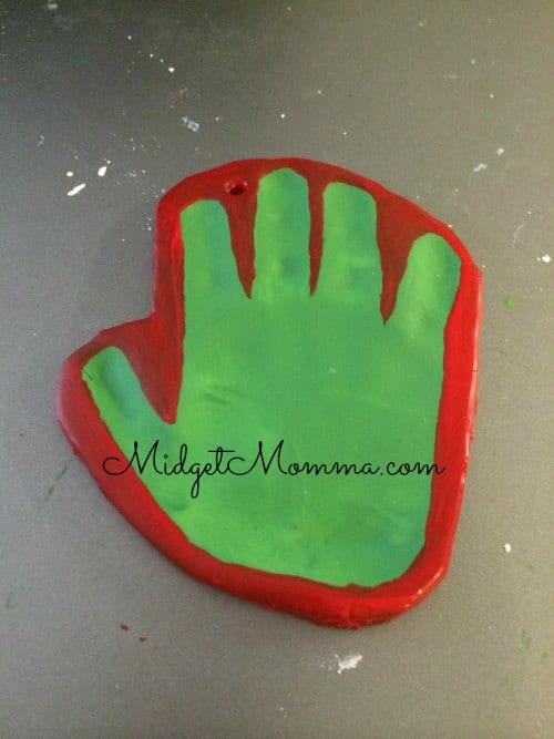 handprint grinch homemade ornament