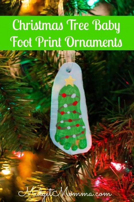 How perfect would this Christmas tree baby foot print ornament be on the tree? Using DIY air dry clay, make a memory ornament shared as a christmas tree of your little ones foot. Fun Christmas craft to make as a keepsake. DIY Christmas craft, DIY Christmas tree, Christmas memory ornament.