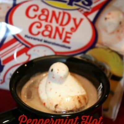 Peppermint Hot Chocolate with Peeps turns you normal cup of hot chocolate into a fun holiday flavored cup. Once the peep starts to melt you taste peppermint