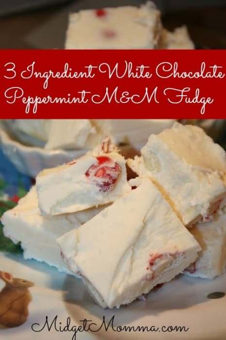 This 3 Ingredient White Chocolate Peppermint Fudge with M&M'S® White Chocolate Peppermint looks like it took a lot of work to make but its super simple.
