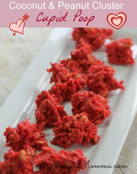 Red candy wafers with just three other ingredients make up theses cute but funny cupid poop valentine's day kids treat dessert.