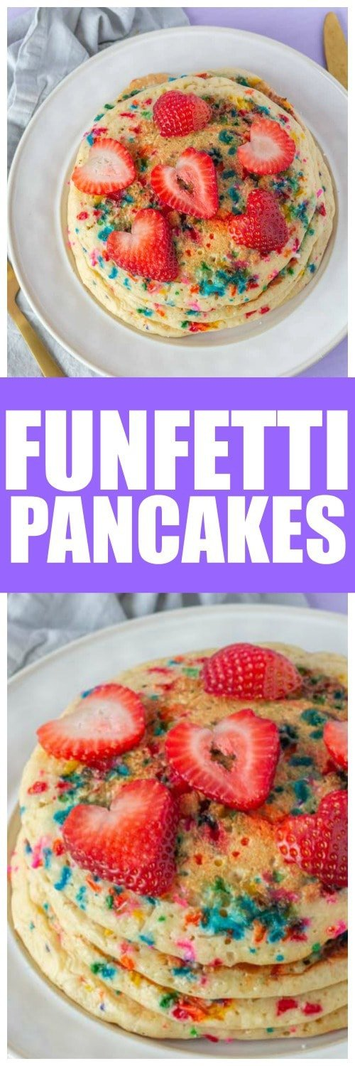 These funfetti pancakes are the perfect birthday pancakes recipe! Every kid will love waking up to these homemade birthday pancakes! #Pancakes #PancakeRecipe #HomemadePancake #FunFetti #Birthday #BirthdayCake #CakeBatter #CakePancake