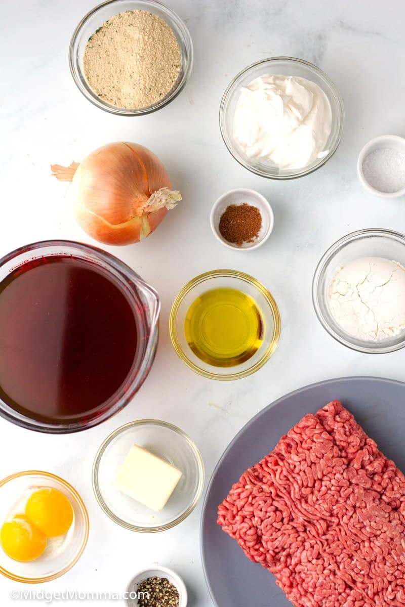 Easy Swedish Meatballs Recipe ingredients on the kitchen counter
