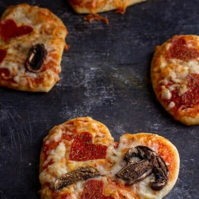 Heart shaped pizza for valentine's day fresh out of the oven