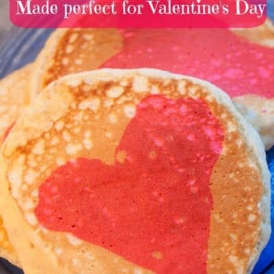 This Homemade Pancake Mix makes pancakes that are light and fluffy. With just a little food coloring you can add a fun heart to the middle of your pancakes.