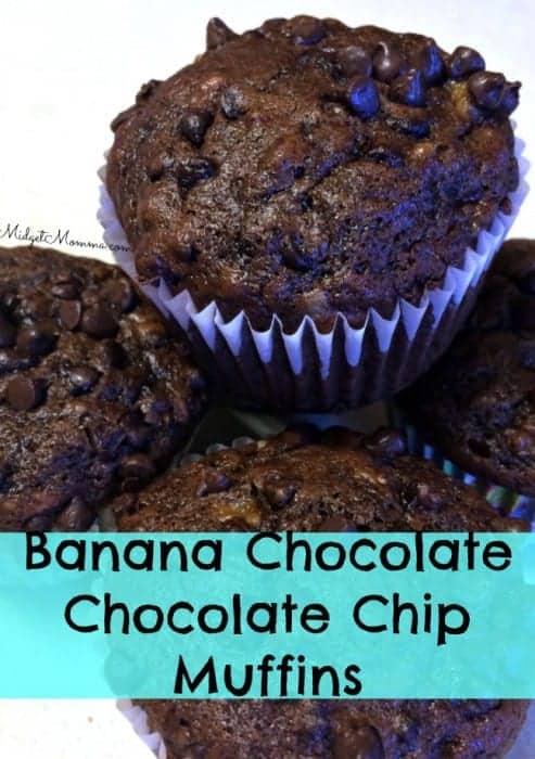 Banana Chocolate Chocolate Chip Muffin, chocolate chip muffin, banana chocolate chip muffin, chocolate banana muffin, chocolate chip banana chocolate muffin