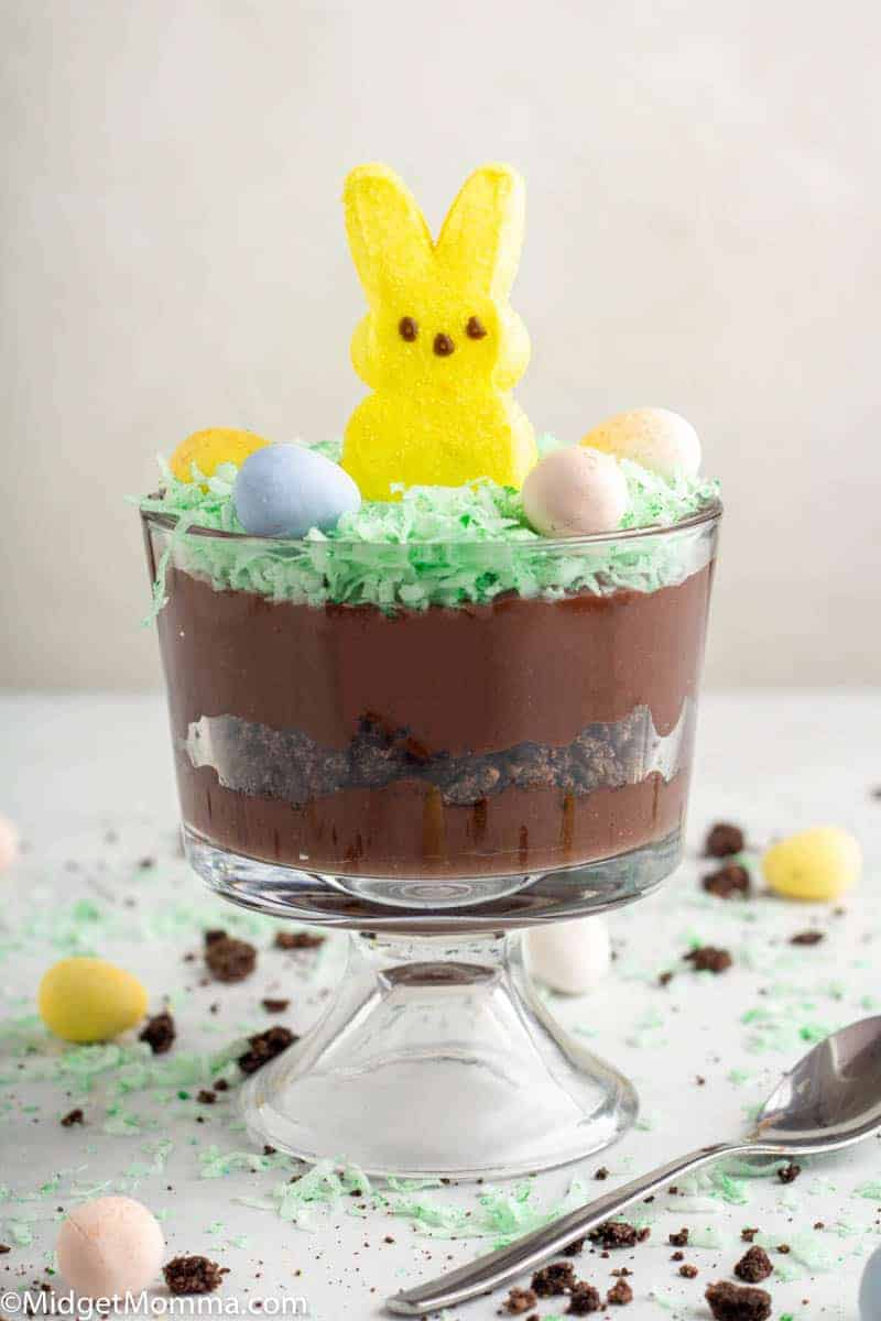 Easter Bunny Dirt Cup with chocolate pudding, coconut and peeps bunny