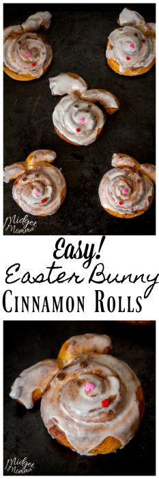 Super cute and east Easter Bunny Cinnamon Rolls - MidgetMomma. - These CinnaBunnies are a great way to turn you ordinary can of cinnamon rolls into something fun and special for Easter.