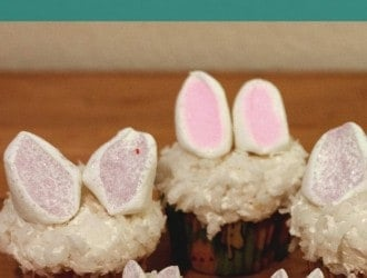 These cute bunny ear cupcakes will make any one smile. They have a simple flavor with the addition of coconut and marshmallows.