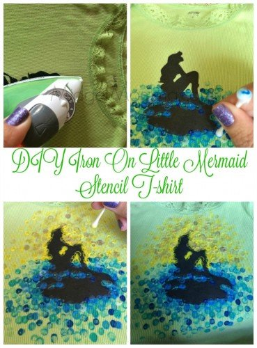 DIY Iron On Little Mermaid Stencil T-shirt