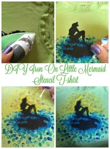 DIY Iron On Little Mermaid Stencil T-shirt