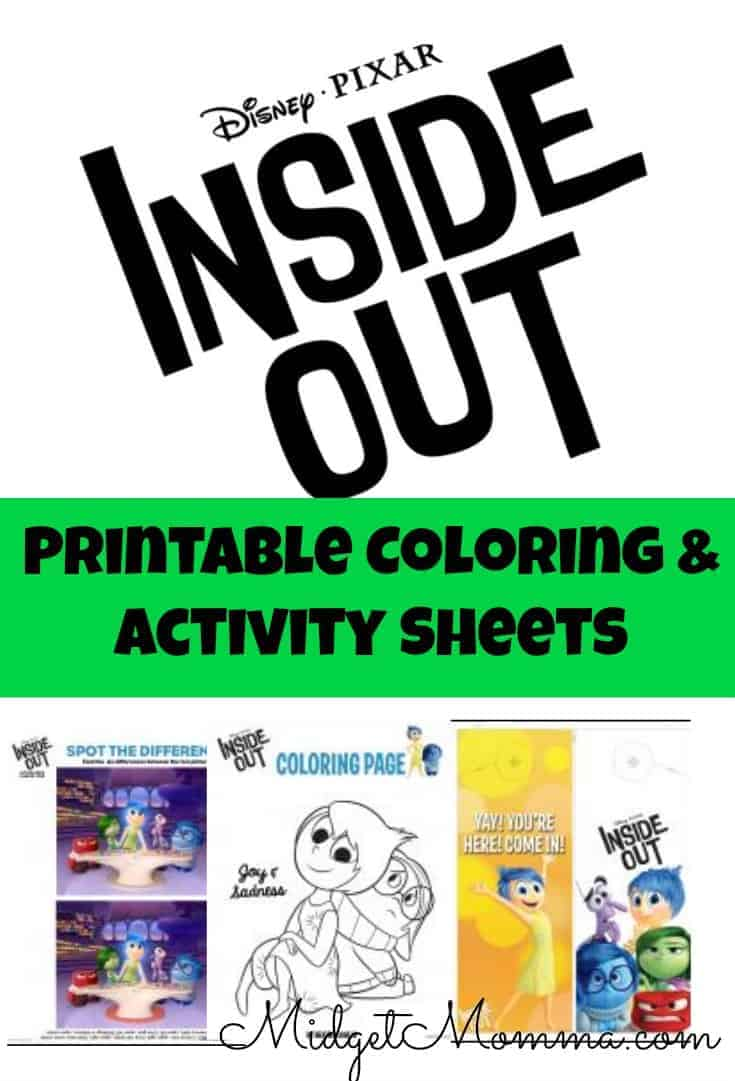 Printable Inside Out Coloring and activity sheets