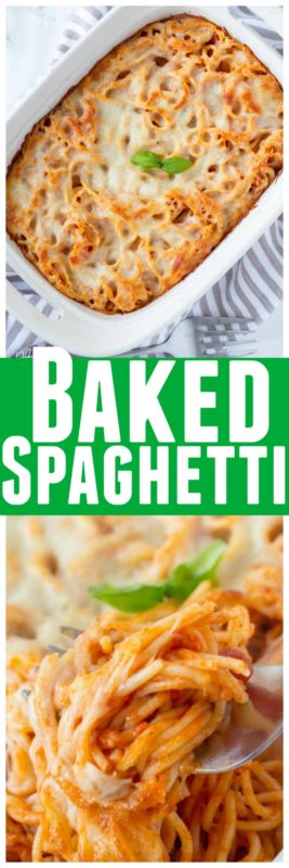 This baked spaghetti recipe is a quick and easy dinner recipe. Baked spaghetti can be made with a few different pasta sauces to make it your perfect sauce and pasta flavors. Baked spaghetti is a perfect week day meal to make when things are a bit crazy. #Spaghetti #SpaghettiRecipe #BakedSpaghetti #Pasta