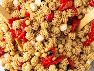 Balsamic roasted red pepper pasta salad in a glass bowl