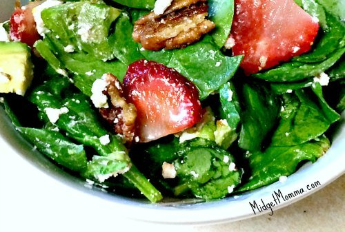 Spinach Strawberry Avocado Pecan Salad