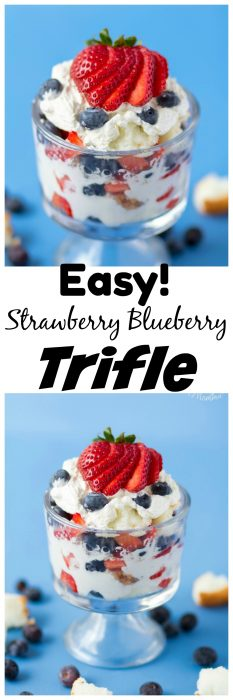 This Strawberry Blueberry Trilfe is a quick and Easy Red White and Blue dessert! It is the perfect patriotic dessert to make for a summer party or just because you want a tasty sweet easy dessert! #Dessert #Strawberry #Blueberry #4thofJulyDessert #EasyDessert #BerryDessert #Berries #AngelfoodCake