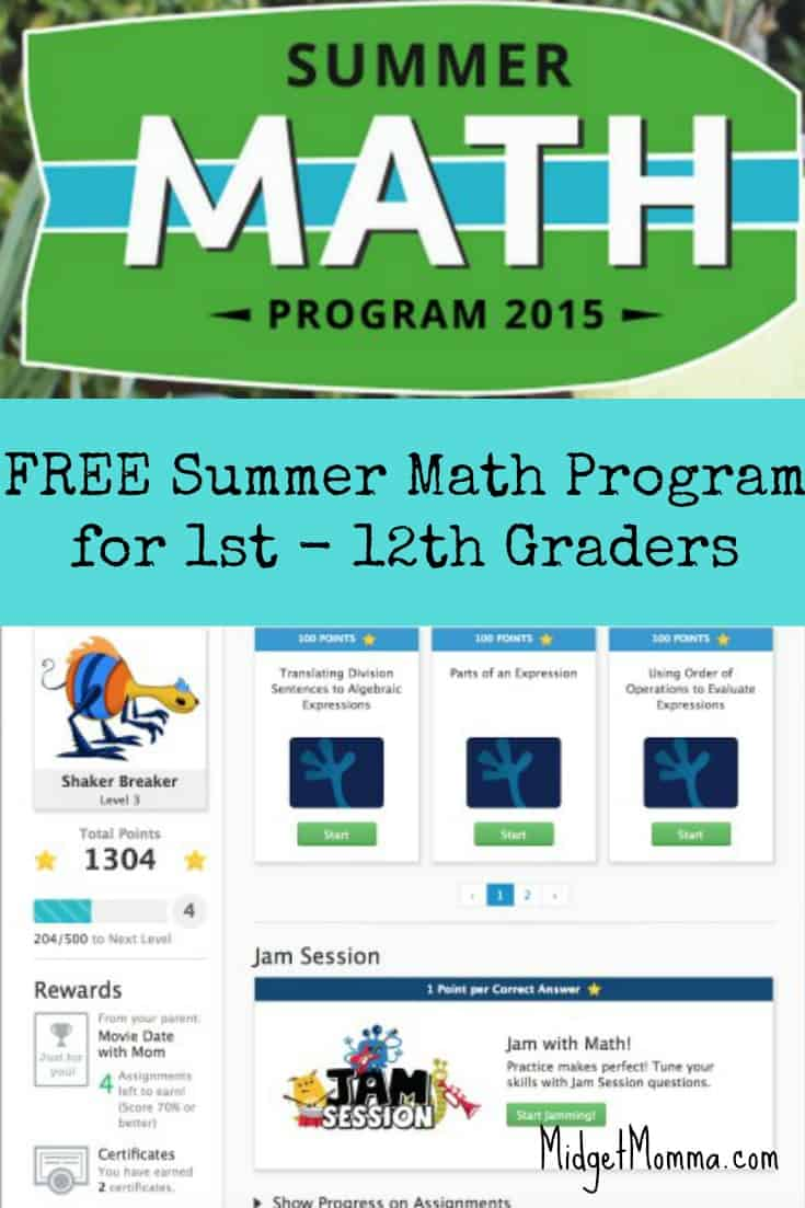 Free Online Summer Math Program for Kids (1st - 12th grade)