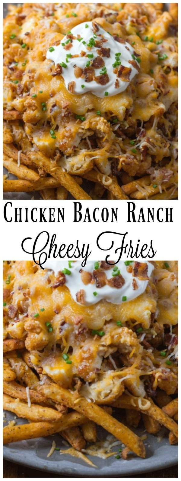 Chicken Bacon Ranch Cheesy Fries. These loaded fries are the perfect party appetizer or if you want to have one amazing dinner and wow your family then these chicken cheese fries are perfect! #Chicken #Bacon #Ranch #CheeseFries #LoadedFries #ChickenBaconFries #CheesyFries