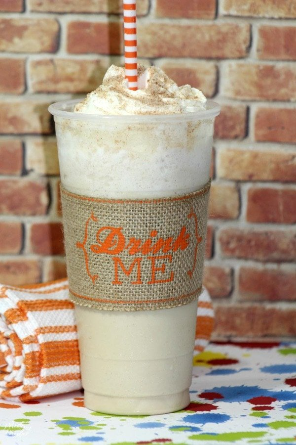 Starbucks copycat cinnamon roll frappuccino recipe in a disposable frap cup