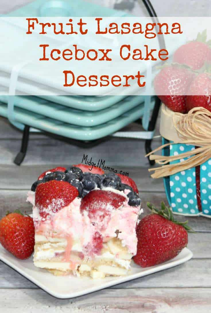 Fruit Lasagna Frozen Ice Box Cake. Easy to make quick dessert that is perfect for the summer. This Fruit Lasagna Frozen Ice Box Cake is great for BBQs.